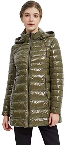 Orolay Women s Shiny Down Jacket Bubble Winter Coat Light Puffer Jacket with Hood Military Olive product image