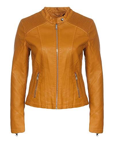 Malito Mujer Chaqueta Cuero Sintético Acolchado Biker Chaqueta 5195 (Amarillo Oscuro, 48)