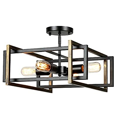 Lampundit Rustic Industrial Flush Mount Light Fixture 4-Light Metal Square Flush Mount Ceiling Light for Hallway Living Room Bedroom Kitchen Entryway Farmhouse, Black