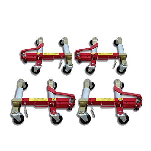 JIN 1500lbs Rollschuh-Transportwagen mit 4 Lenkrollen, Fußpedal, Tragegriff, Fahrzeugpositionierung Wagenheber Reifenheber für Auto Van Caravan Werkstatt Garage
