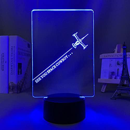 3D Led Luz de noche Talbe Illusion Lamp Anime Cowboy Bebop Spike para decoración Dormitorio Niños Cumpleaños Manga Bedside-Dm1413_With Remote