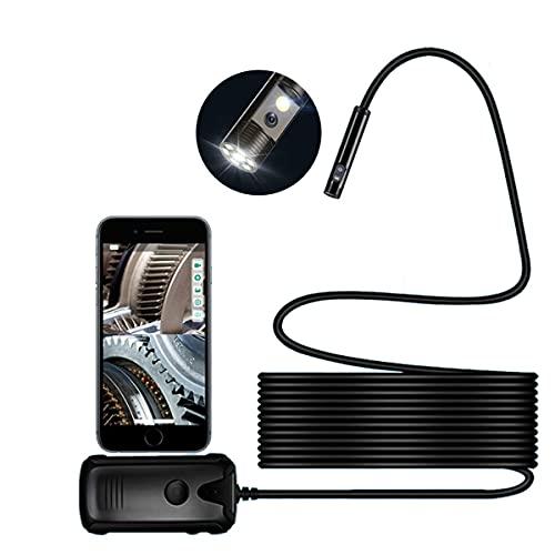 MH-RING IP68 Boroscopio WiFi Cámara de Inspección, Cámara HD 1200P Cámara Inalámbrica Portátil con LED Ajustable y Batería para Android/iPhone (Color : Black, Size : 2 Meters)