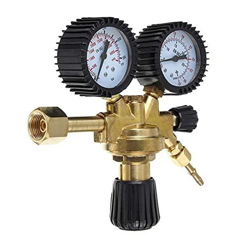 HEQIE-YONGP Regulador de Aire, Accesorios Argon CO2 Herramienta de Botella de Gas para el hogar, Reductor de Soldadura Brass Twin Gauge MIG TIG Regulador de presión