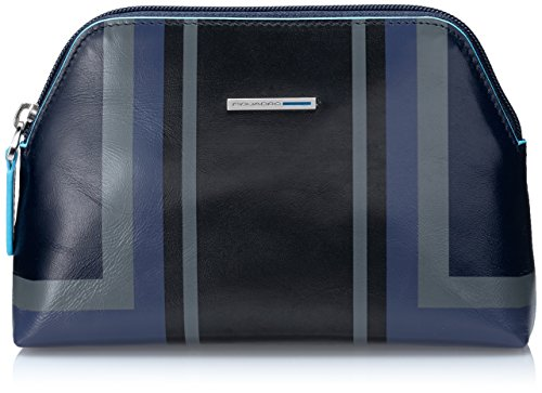 Piquadro Blue Square Beauty Case, Pelle, Blu, 18 cm