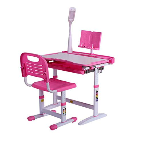 Fewear Kids School Desk and Chair Set with Drawer, Height Adjustable Student School and Home Study Table LED Lamp Desktop Kids Interactive Workstation for 3-15 Years Old (Pink)