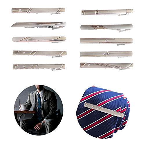 Qiundar Clip de Corbata, 10 Pedazo Pisacorbatas Hombre Oro Pasador de Corbata Alfiler de Corbata Tie Clips,para Fiesta Reunión Negocios Boda