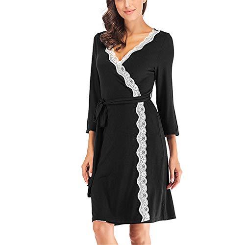 Damen Morgenmantel Kimono mit Taschen Bademantel Satin Kurz Robe Nachthemd Nachtwäsche Mit Blumenspitze,Frau Modal Bademantel Schwarz XL