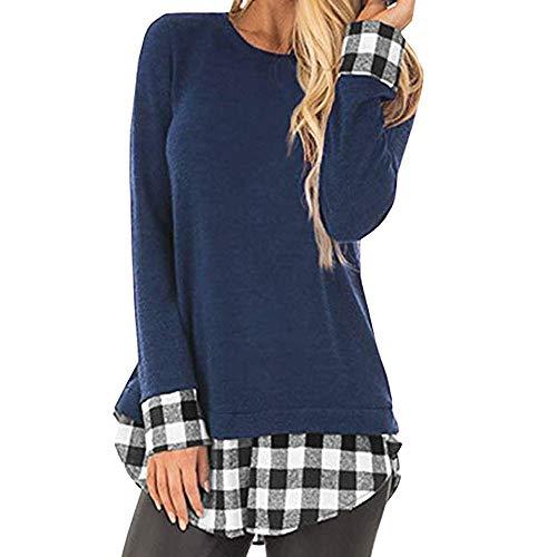 Camisas de otoño Invierno,Dragon868 2019 Invierno Mujeres jóvenes Casual Plaid Desigual Patchwork Camisas de Polo túnica Mujer Blusa Talla Grande