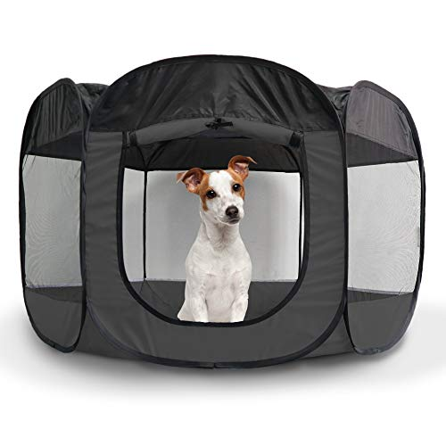 Furhaven Pet Playpen - Indoor-Outdoor Mesh Open-Air Playpen and Exercise Pen Tent House Playground for Dogs and Cats, Gray, Large Dog Playpens Supplies Top
