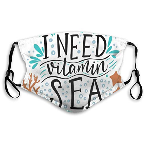 Mouthguard Reusable outdoor Reusable safety covers,I Need Vitamin Sea Inspirational Quote Hand Drawn With Coral Waves Starfishes Bubbles,all countries in polyester covers,for kids