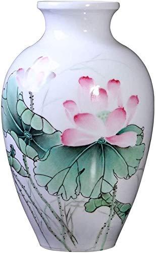 ZWH Jarrones Flores Jarrón De Cerámica Pintado A Mano, Jarrón Decorativo Floral Chino, Blanco, 12.7 Pulgadas, Jarrón Personalizado (Tiempo De Producción Prolongado)