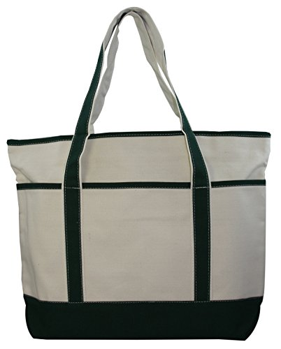 Large Canvas Zippered Tote Bag