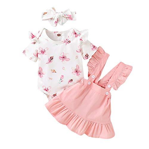 Miyanuby Kleinkind Baby Mädchen Kleidung Set Kurzarm Crewneck T-Shirt Top + Blumenkleid 2 Stück Röcke Outfit Set