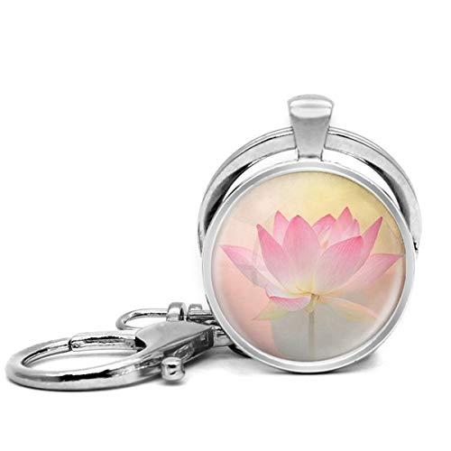 Llavero de acero inoxidable con llavero, ligero y decorativo, ideal como regalo para hombres y mujeres, Heaven Art Lotus