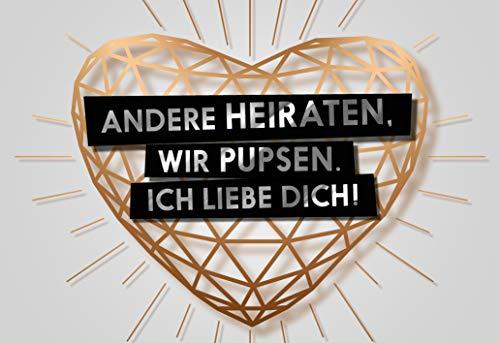 """Lustige Grußkarte""""Pupsen statt Heiraten"""" als Postkarte Jahrestag Beziehung Heirat Partner Valentinstag"""