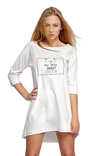 SENSIS modisches Nachthemd (Made in EU) Sleepshirt mit praktischen 3/4-Ärmeln aus Baumwolle, Ecru mit Teddy, Gr. S/M (36/38)