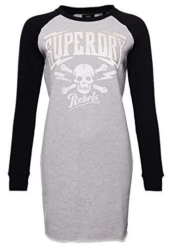 Superdry Damen NYC Raglan-Sweatkleid Grau Meliert 38