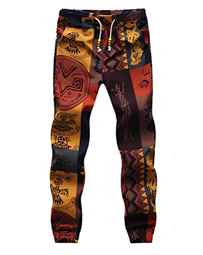 Pantalon Lino Hombre Fashion Flores Estampado Vintage Etnicas Estilo Casuales con Cordón Pantalones Hippies Slim Fit