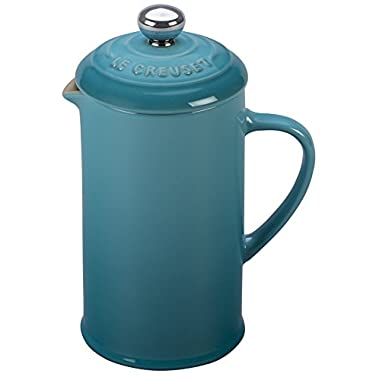 Le Creuset of America Stoneware Petite French Press, 12 oz, Caribbean