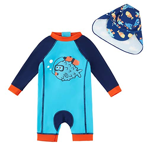 upandfast Baby Boy L/S Rashguard Baby Beach One-Piece Swimsuit(Blue,12-18 Months