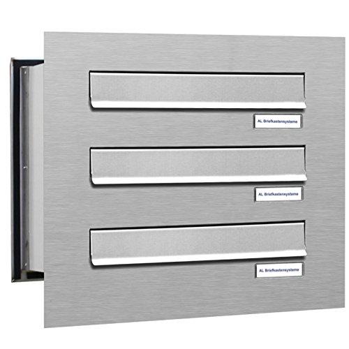 AL Briefkastensysteme 3er Briefkasten Mauerdurchwurf in V2A Edelstahl, 3 Fach DIN A4, wetterfeste Premium Briefkastenanlage Postkasten