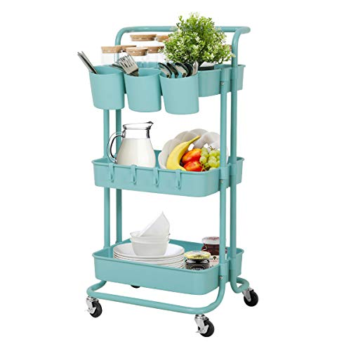 3 Tier Storage Cart, Rolling Cart,Kitchen Storage Cart, Painting Cart, Trolley Adjustable Makeup Cart with Handle/Hanging Cups/Hooks/Wheels for Bedroom/Bathroom, Teacher Cart