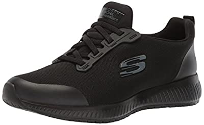 Skechers for Work Women's Squad SR Food Service Shoe, black flat knit, 6 M US