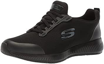 Skechers Womens Squad SR Food Service Shoe, Black Flat Knit, 8 US