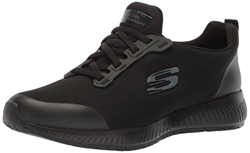 Skechers for Work Women's Squad SR Food Service Shoe, black flat knit, 7.5 W US