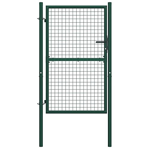 vidaXL Puerta de Valla Acero Verde 100x175 cm Cancela de Jardín Patio Exterior