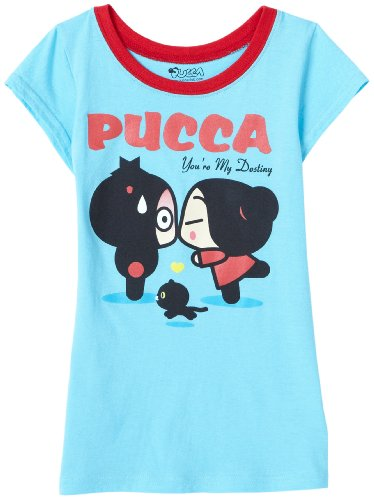 Pucca Big Girls' Short Sleeve Tee My Darling Screen,Turquoise,L - 12