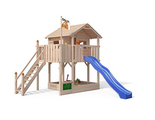 Isidor Killimando Spielturm Baumhaus Schaukel Kletterturm Rutsche 1,5 m Podest Treppe (ohne Anbau, Blau)