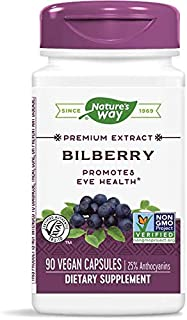 Natures Way Bilberry Standardized Extract Capsules For Healthy Eye Funtion - 60 Ea (pack of 6)