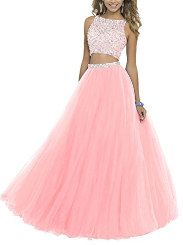 Two Pieces Prom Homecoming Dresses Jeweled Puffy Tulle Long Pageant Quinceanera Ball Gown 015 Pink