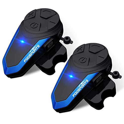 Fodsports Motorrad Bluetooth Headset Intercom BT-S3 Motorrad Kommunikation System GPS FM Radio Wasserdicht Motorradhelm Bluetooth Intercom Headset (2 Packung hartes Kabel)