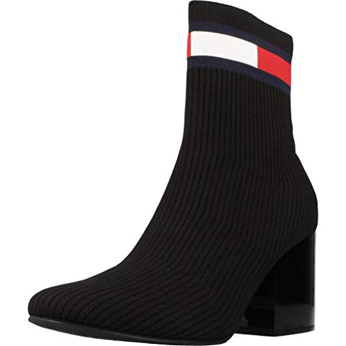 Tommy Hilfiger Flag Sock Mid Heel Boot, Stivaletti Donna, Nero (Black Bds), 37 EU