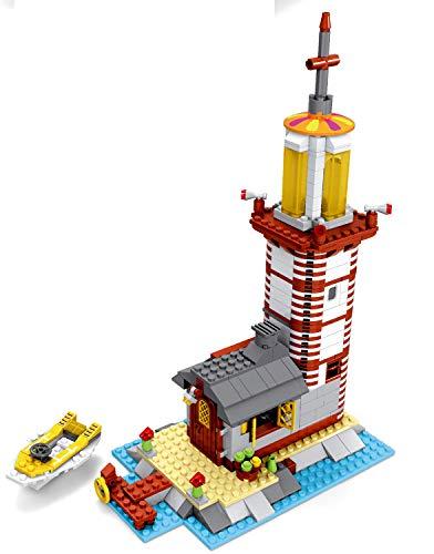 Modbrix Bausteine Haus, Leuchtturm, 573 Klemmbausteine, Konstruktionsspielzeug