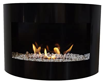 Bio Ethanol Fireplace RIVIERA DELUXE Wall Fire Place + Stainless Steel Burner + decorative stones