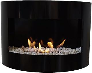 etanol chimenea Riviera Deluxe chimenea de pared en acero + quemador 1 litro + piedras decorativas blancas (Negro)