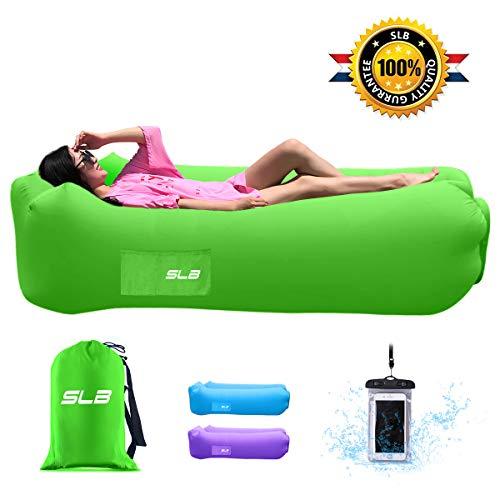 Tumbona hinchable de SLB – Tumbona de aire impermeable con reposacabezas, tumbona portátil con bolsa de almacenamiento para camping, jardín, playa y piscina (verde)