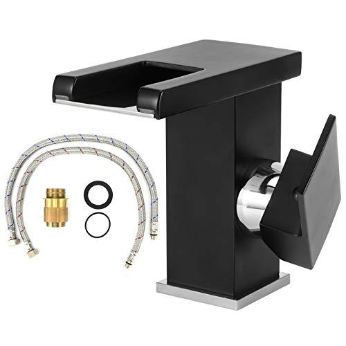 AYNEFY Grifo de agua LED para baño, lavabo cascada mezclador LED baño, grifo de la personalidad, grifo de la luz LED que cambia de color estilo alto negro (negro)