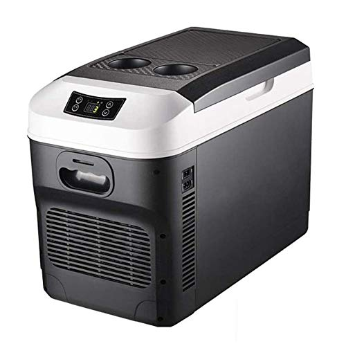 HXCLYQ Kühlbox Elektrisch Auto Mini, Tragbare Thermo-elektrische Kühlbox/Heizbox, 28 Liter, 12/24 V DC/ 220-240 Volt AC,für Auto, LKW, Boot und Steckdose (Farbe : Schwarz)