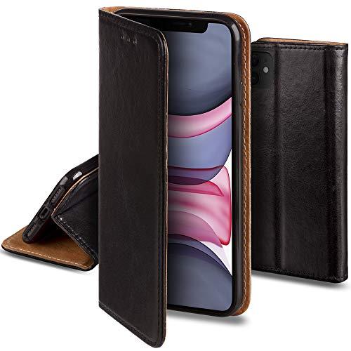Moozy Lederhülle für iPhone 11, Schwarz - Ledertasche, Echt Leder Hülle mit Kartensteckplätze, Kartenfach & Standfunktion