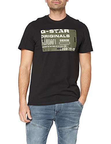 G-STAR RAW Men's Flock Badge Graphic T-Shirt, Dk Black C336-6484, L