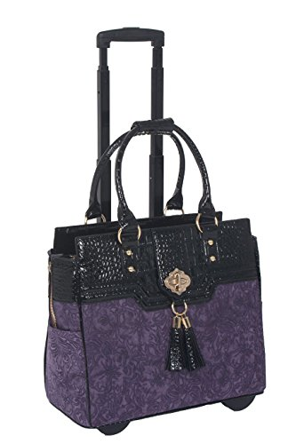 JKM and Company The Contessa Purple & Black Alligator Faux Leather Compatible with Computer iPad, Laptop Tablet Rolling Tote Bag Briefcase Carryall Bag