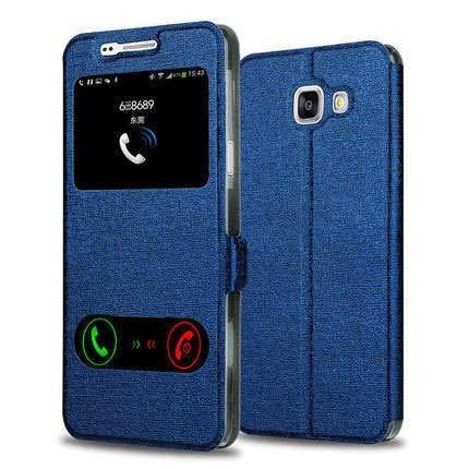 HHF - Funda de piel con tapa para Samsung Galaxy A6 A8 J6 2018 A3 A5 A7 J3 J5 J7 2016 2017 S9 S8 Plus (color: azul, material: J2 PRO 2018)