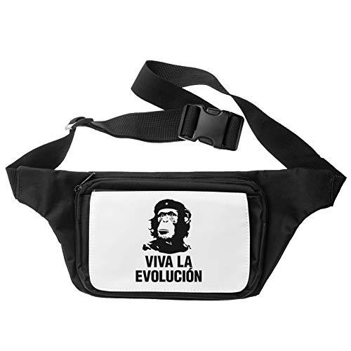 Che Guevara Viva La Evolucion Monkey Cangurera Riñonera Waist Bum Travel Bag Unisex
