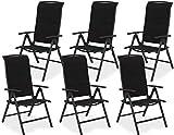 Brubaker 6er Set Gartenstühle Milano - Gepolsterte Klappstühle - 8-Fach verstellbare Rückenlehnen - Stühle aus Aluminium - Wetterfest - Anthrazit