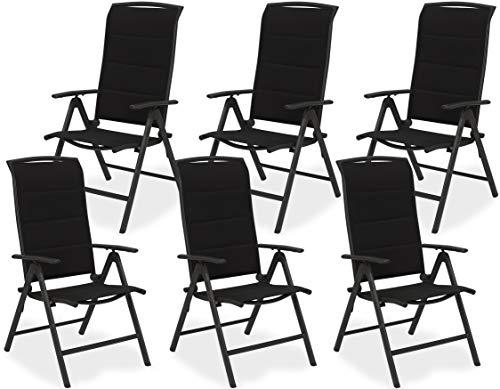 Brubaker 6er Set Gartenstühle Milano - Hochlehner Stühle klappbar - 8-Fach verstellbare Rückenlehnen - Klappstühle Aluminium - Wetterfest - Anthrazit