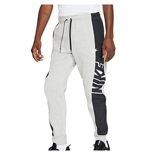 NIKE M NSW CE FT JGGR SNL ++ Pantalones de compresión, Grey Heather/Black/(White), Large para Hombre